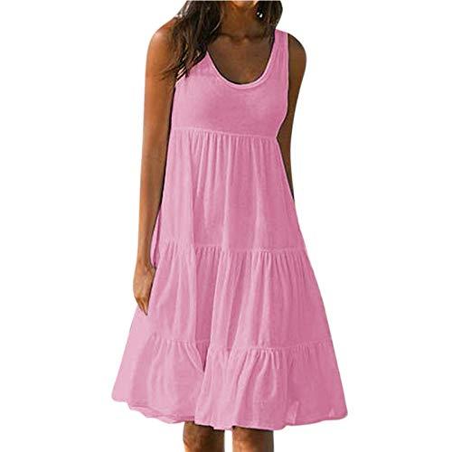 Banbry Damen Sommerkleid Lose Casual Kleid Rundkragen Strandkleid Ärmellos V-Ausschnitt Blumensonnenblumen Druck Basic Minikleid