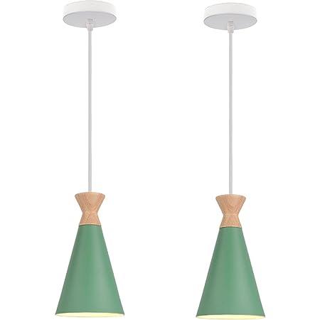 Lot de 2 Lustre Suspension E27 Éclairage Luminaire Suspension LED Plafonnier Scandinave Moderne Style Simple pour Restaurant Salle à manger Decoratif Salon Cuisine (Vert*2)
