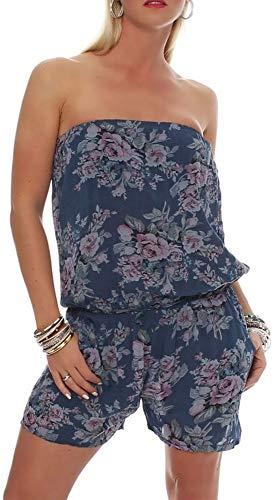 malito dames onesie kort met bloemenmotief | korte Overall met stoffen riem | Jumpsuit - Playsuit - Romper 1496