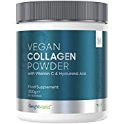 Vegan Collagen Powder 300g - Hair, Skin, Nail & Muscle Anti-Ageing Beauty Supplement for Men & Women, Plant-Based Amino Acid Protein Complex, with Vitamin C, Zinc & Hyaluronic Acid - 60 Serving Tub