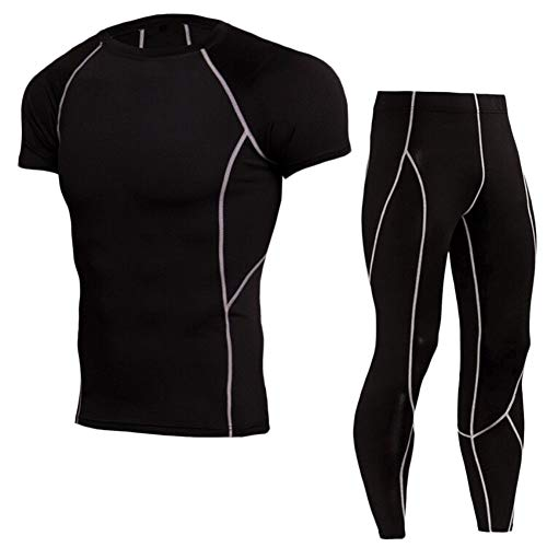 GELing Conjunto De Compresion Hombre, Camisetas Compression Pantalon Mallas para Running, Correr, Gym, Fitness Gris Corto S