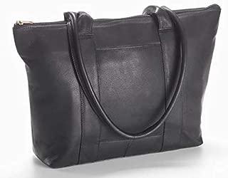 Clava Leather-Vachetta Zip Top Shopper Tote in Black