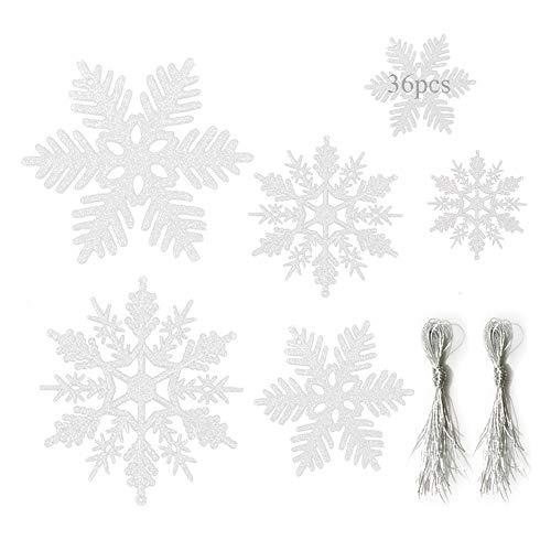 Anyingkai 36pcs Schneeflocken Weihnachten Deko,Glitzer Schneeflocken Deko,Weihnachtsbaum Deko Schneeflocken,Weihnachten Schneeflocken Anhänger,Schneeflocke
