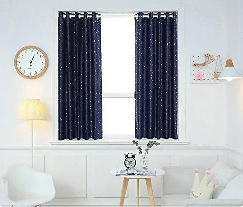 Dark Blue 2 panelen 100% verduisteringsgordijnen met Liner voor Slaapkamer, Zeilringen thermisch geïsoleerd Geweven Gordijnen voor Living Room,150x180cm