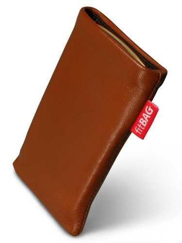 fitBAG Beat Cognac Handytasche Tasche aus Echtleder Nappa mit Microfaserinnenfutter für Motorola V3,V3i RAZR