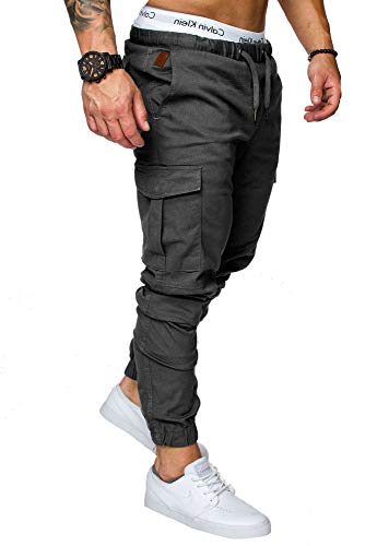 REPUBLIX Herren Cargo Jogger Chino Hose Pants Mit Stretch R0701 Anthrazit W34