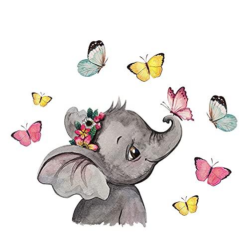 ilka parey wandtattoo-welt Mini Fensterbild Elefant Kopf Schmetterlinge WIEDERVERWENDBAR Fensterdeko Fensterbilder Frühling Frühlingsdeko Deko bf49mini