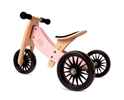New Kinderfeets, Kids Tiny Tot Plus Balance Bike, Adjustable Seat, Puncture Proof Tires, Pedal-Free Training Bicycle for Children and Toddlers Ages 18 Months and up (Rose)