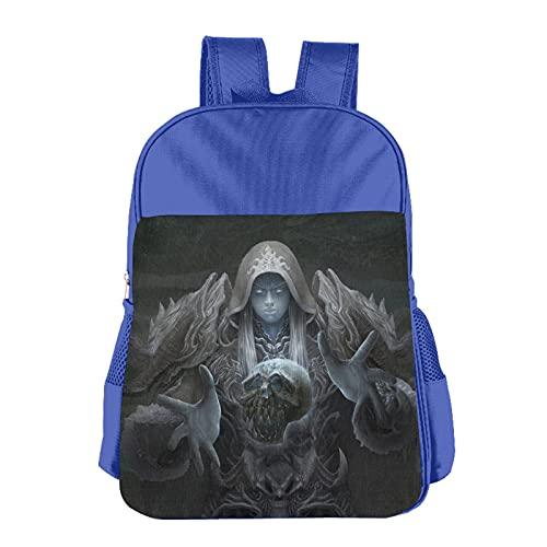 World Warcraft - Mochila para niños de poliéster impermeable para niños de 3 a 13 años, azul, Talla única