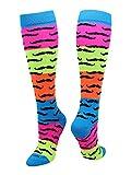 TCK Neon Rainbow Fun Print OTC Socks (Mustache, Medium)