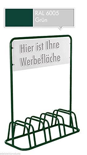 4er Werbe-Fahrradständer mit Werbeschild / Fahrradhalter + Werbetafel (Grün)