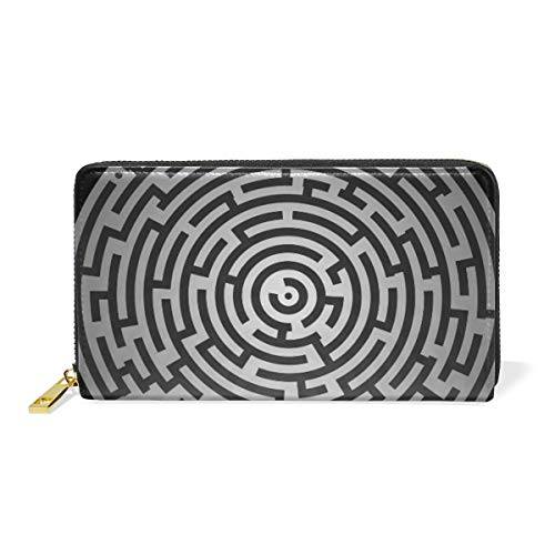 LORONA doolhof puzzel raadsel quiz Labyrint leer lange rits koppeling portemonnee portemonnee voor vrouwen reizen koppeling tas