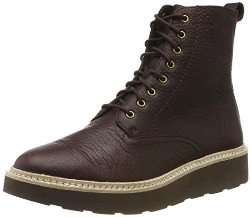Clarks Trace Pine, Stivali Arricciati Donna, Marrone (Burgundy Leather Burgundy Leather), 39 EU