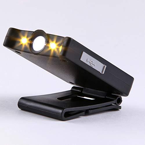 DLH Campingscheinwerfer, dünne USB-Akkus - LED-Scheinwerfer - Angelscheinwerfer - für Hutclips, Angeln, Laufen, Multifunktionsdimmen, Lesen