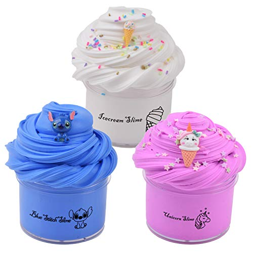 Sunool 3 Pack Butter Slime, Blue Stitch, Rose Unicron, White Icecream Slime Putty Stress Relief and Scented Sludge Toy for Boys and Girls