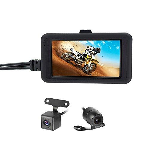 OBEST Cámara Biker Motocicleta Dash CAM 1080p grabadora de Video de Doble Lente Motocicleta Dash CAM cámara de acción Deportiva 3