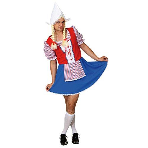 NET TOYS Holländerin Kostüm Herren Männerballett Frau Antje S 46/48 Frauenkostüm für Männer Männerkostüm Niederlande lustiges JGA Outfit Mann Junggesellenabschied Kostüm Herren