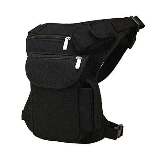 Sac Sportive Sacoche de Taille Avec Ceinture de Cuisse en Toile pour Vélo Camping Escalade - Noir, 32 x 23cm