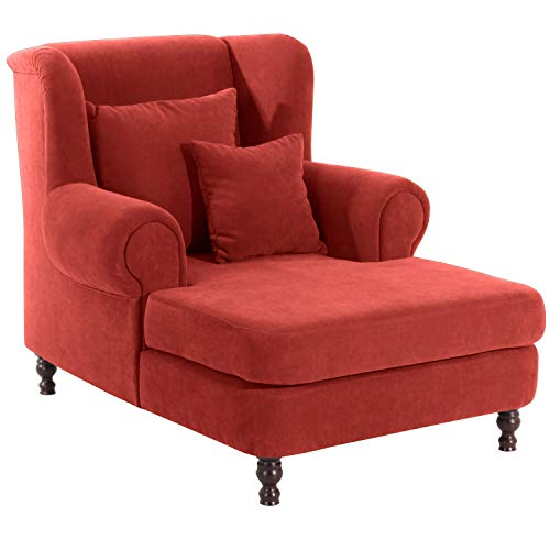 Max Winzer® Big-Sessel inkl. 2x Zierkissen 55x55cm + 40x40cm Mareille, terracotta (dunkelorange, rotbraun), Veloursstoff, XXL, Ohrenbacken, romantisch, Landhaus, 103 x 149 x 103 cm