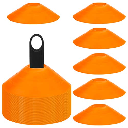 Faxco 50 Pcs Orange Mark Disks with Shelf and Net Bag, Soccer Cones with Holder for Training, Football, Sports, Field Cone Markers Outdoor Games Supplies