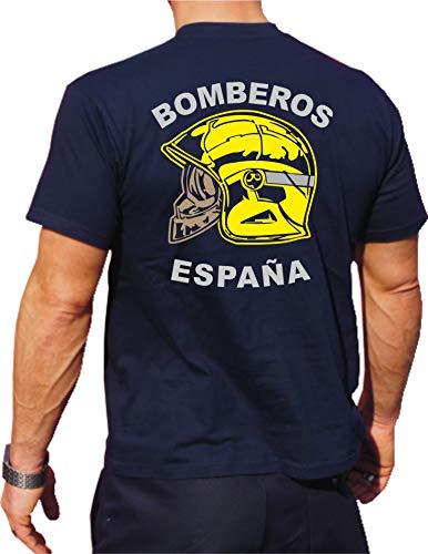 fuego1 T-Shirt/Camiseta (Navy/Azul) Bomberos ESPAÑA, Casco Amarillo, Bandera española XL