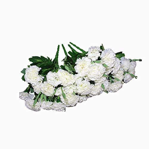 Ieoyoubei 4 Bunches Bouquet of Artificial Silk Flower Best Creamy-White Carnations11 Inch Bouquet and Green Leaf for Home Decoration Bridal Wedding Festival Decoration with 10 Per Bunch Flower
