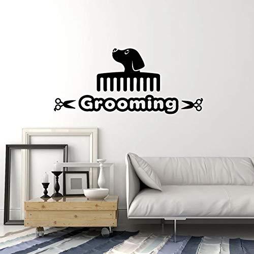 Retoque para mascotas calcomanía de pared texto abstracto perro peine para el pelo tienda de mascotas habitación de animales interior decoración de interiores vinilo adhesivo para ventana mural
