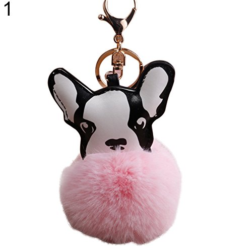 Bluelans Lovely Fluffy Ball French Bulldog Keychain Pompom Key Ring Cute Holder Bag Charm Valentine's Day/Mother's Day/Father's Day/Wedding/Anniversary/Party/Graduation/Christmas/Birthday Gifts