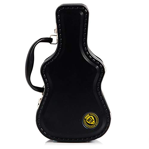 SUCK UK Fiambrera Caja De Almuerzo con Forma De Guitarra | Porta Merienda Original | Tupper Infantil Colegio, Metal, Negro, 8.10x15.50x28.00 cm