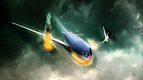 Puzzels 1000 stukjes voor volwassenen Kunstwerk voor kinderen Brandend vliegtuig Houten cadeaus voor kinderen Puzzel Decompressie Decoupeerzagen