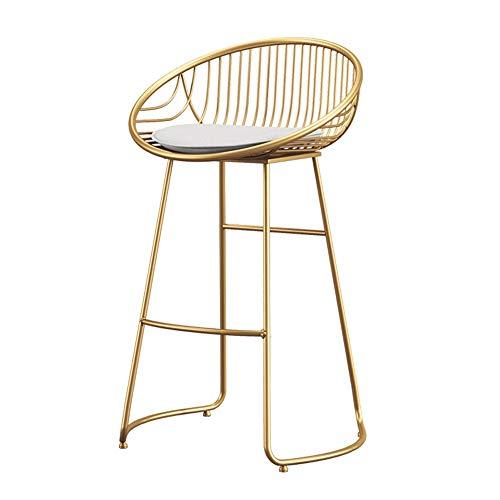 ZXH Goldenes Hoch Hocker Bar Stuhl Bars Hocker Küchenhocker Frühstücksbar Tischrahmen Einfarbiges PU-Ledersitzkissen Fußstütze Aus Stahl
