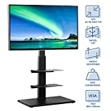 Rfiver Swivel Floor TV Stand with Mount and Media Component Shelves for Most 32 37 42 47 50 55 60 65 Inches Plasma LCD LED Flat or Curved Screen TVs, Black