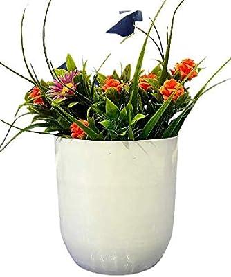 Yogesh Handicraft Round Metal Planter for Home Decor ( 10.09*10.09*11.9) (Color Name- White)