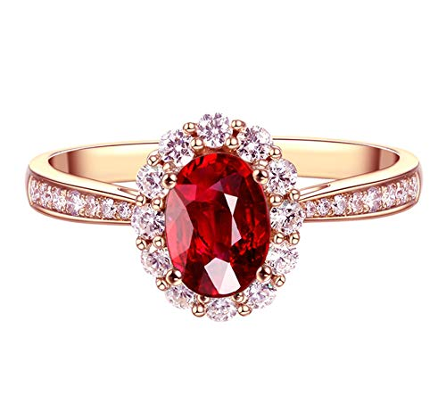 Gnzoe Jewelry 18Karat Rose Gold Ring for Women 1.08ct Natural Pigeon Blood Ruby Rose Gold Size 6