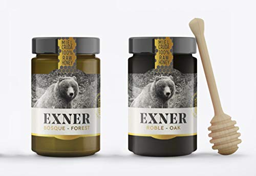 EXNER Miel Cruda 100{0e1b0a7f45bd669eea8af2cf39cc46dbdb564ea459caa4ae6a9d200c2cbb5006} Raw Honey Artesana - 2 variedades ROBLE (450 gr) y BOSQUE (450 gr) - Naturaleza y Montaña, Pura, Sin filtrar, Sin pasteurizar, Sin gluten