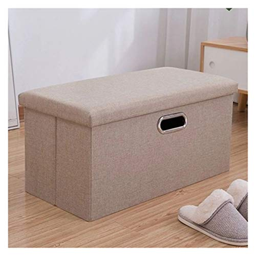 GIAO Storage Ottoman Folding Seat Box Footrest, Folding Storage Cube Foot Rest Stool Storage Seat Foldable Storage Boxes Hollow Design 25x25x25cm(Beige Handle) Storage Ottoman Footrest