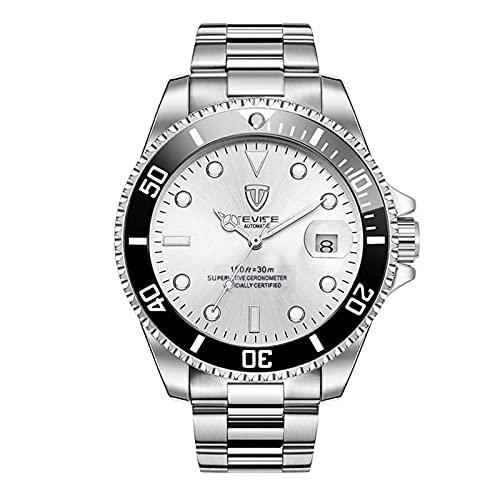 JTTM Reloj para Hombre Moda Automático Analógico De Cuarzo Reloj De Pulsera para Hombre Acero Inoxidable Deportivo Impermeable con Fecha Reloj De Pulsera,Blanco
