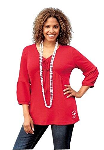 KangaROOS Shirts Damen Tshirt Langarm Longshirt A-Form Himbeer Rot V-Ausschnitt 52/54