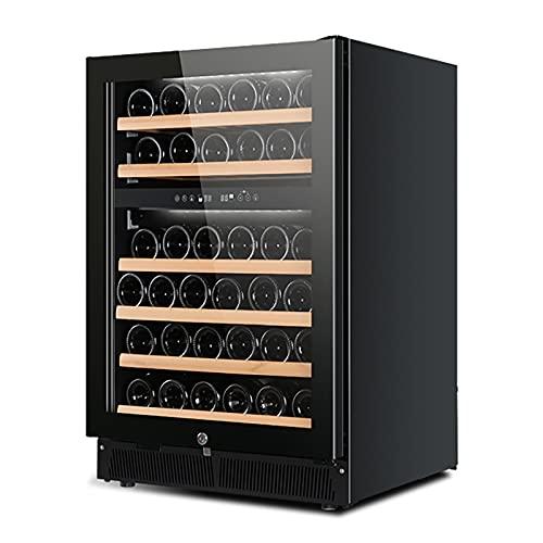 VIY Nevera vinos Nevera para vinos con Puerta acristalada 26-52 Botellas de Vino iluminación Interior 6 baldas 2 Zonas de frío antivibración Negro
