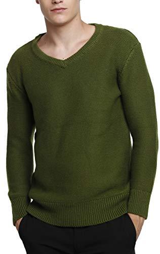 LinyXin Cashmere Herren Kaschmir Pullover Rundhals Warm Wolle V-Ausschnitt Langarm Freizeit Winter Pulli Sweater (M, Army Grün)
