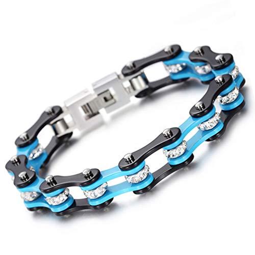 DZLRP Schmuck Herren Armband-Fahrrad-Ketten-Armband-Armband Mit Kristall-Edelstahl-Armband Für Männer Frauen Geburtstagsgeschenk, Blau, Schwarz