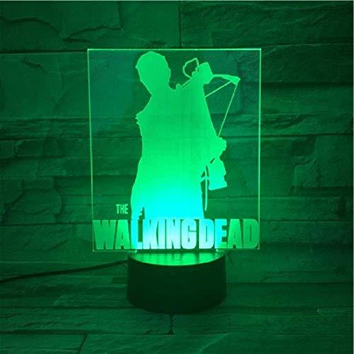 Lámpara de ilusión 3D Luz de noche LED Walking Dead Serie Tv Lámpara de escritorio con cambio de color de 7 colores Novedad para niños Regalos Control inteligente