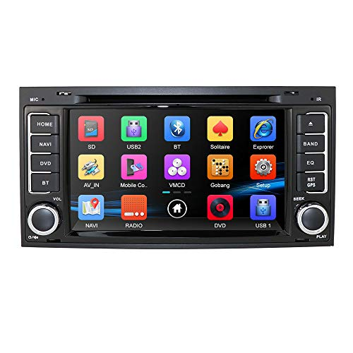 hizpo 7 Inch Car Radio DVD CD Player Car GPS Navigation Stereo for VW Touareg Transporter T5 Multivan Bluetooth Capacitive Touch Screen+ 3G + 8GB With North America map Card