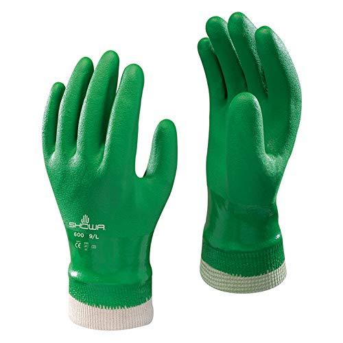SHOWA 600 PVC grün Handschuhe - Knitwrist - 8/M