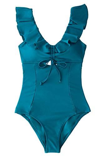 CUPSHE Bañador para Mujer Volantes Atado Abertura Drawstring Traje de Baño, XL