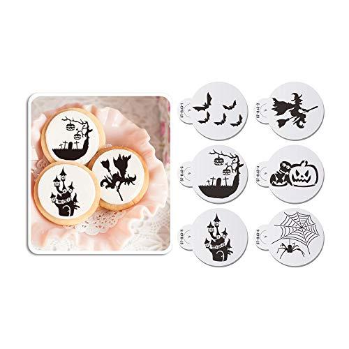 AK ART KITCHENWARE Juego de plantillas para galletas con diseño de calabaza de Halloween para decoración de pasteles, pintura Royal Glasing Airbrush Stencil para panadería, 6 unidades, 7 cm