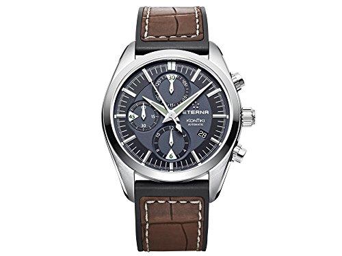 Eterna Kontiki Chrono orologio, eta Valjoux 7750, grigio, cinturino in...