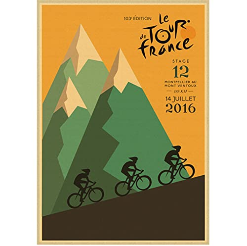 Alpe Mountain Bike Ride Retro Canvas Poster Wall Painting Picture Print For Living Room Bedroom Home Decor 50x70 cm(19.68x27.55 in) Q-140