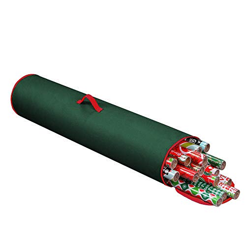 "Primode Gift Wrapping Storage Bag with Handle | Wrapping Paper Tube Bag for Storing Multiple Rolls of Gift Wrap, 40"" Length Constructed of Durable 600D Oxford Material (Green)"