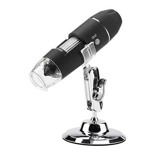 Microscopio Electrónico 1600X 2M Portátil Endoscopio de Aumento Lupa Digital con 8 Luz LED Lupa USB HD con Soporte de Metal Compatible con Mac OS, Window XP o Superiores, Android y Linux